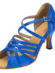 Damer Latin Salsa Velouriseret Sandaler Hæle Indendørs Spænde Kegleformet hæl Marineblå 7,5 cm Kan ikke tilpasses