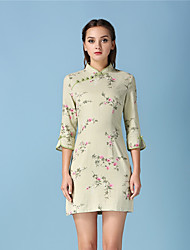 Women's Casual/Daily Simple Sheath Dress,Floral Stand Above Knee Long Sleeve Brown Cotton Fall