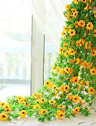 Недорогие -1 1 Филиал Шелк Подсолнухи Цветы на стену Искусственные Цветы 240CM