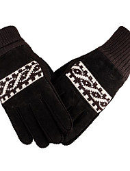 cheap -Male Thickened And Plush Warm Gloves Leather Riding Warm Woolen Gloves