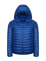 Men's Regular Hooded Slim Down Light Coat,Polyester Solid Long Sleeve