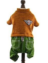 preiswerte -Hund Overall Hundekleidung Einfarbig Dunkelblau Braun Rot Baumwolle Jeans Kostüm Für Haustiere Herrn Modisch