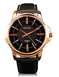 cheap -358 YAZOLE Fashion Men's Business Dress Watch Leather Strap Blue Ray Glass Analog Quartz Wrist Watches