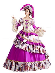 Un Pezzo/Vestiti Gotico Lolita Classica e Tradizionale Steampunk® Cosplay Vestiti Lolita Viola Fantasia floreale Lungo Abito Cappelli Per