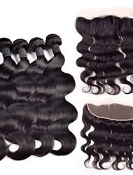 Недорогие -Индийские волосы Естественные кудри Ткет человеческих волос 4 предмета 0.35