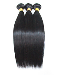 Натуральные волосы Бразильские волосы Человека ткет Волосы Прямые Наращивание волос 3 предмета Черный