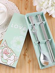 cadeau personnalisé mariage / / valentine partie vaisselle-2piece / set ensembles de vaisselle kits en acier inoxydable