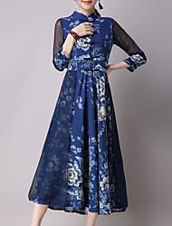Mujer Corte Swing Vestido Casual/Diario Simple,Floral Escote Chino Midi Algodón Otoño Tiro Medio Microelástico