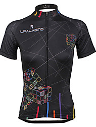 ILPALADINO Cycling Jersey Women's Short Sleeves Bike Jersey Tops Quick Dry Ultraviolet Resistant Breathable Soft Back Pocket Reduces