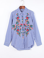Women's Fine Stripe|Embroidery Casual/Daily Chinoiserie Fall ShirtEmbroidered Shirt Collar Long Sleeve Blue Cotton Medium