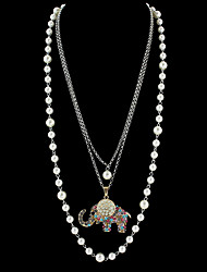 cheap -Long Imitation Pearl Chain Rhinestone Elephant Pendant Necklaces