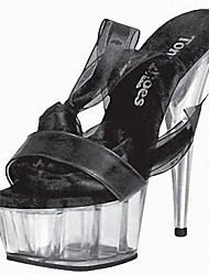 baratos -Feminino-Saltos-Plataforma Sapatos clube Light Up Shoes-Salto Agulha Plataforma-Preto Rosa Roxo Vermelho-Couro Envernizado Tecido-Social