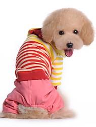 preiswerte -Hund Overall Hundekleidung Lässig/Alltäglich Streifen Rot Blau Kostüm Für Haustiere