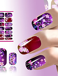 cheap -Water Transfer Nail Art Sticker Decals Flower Sexy Flirtatious Purple Shine Design For Nails Wraps Manicure Accessories