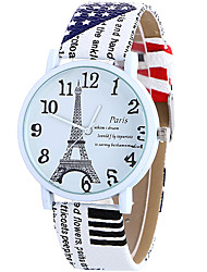 cheap -Women's Wrist watch Fashion Watch Casual Watch Quartz / Casual Watch Leather Band Casual Eiffel Tower Cool White Blue Brown Rose