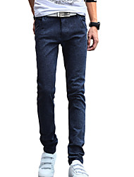 cheap -Men's Solid Casual / Work JeansCotton / Linen / Polyester Blue ACD-917