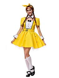 Ladies Kavai Maid Yellow Fancy Dress Halloween Costume