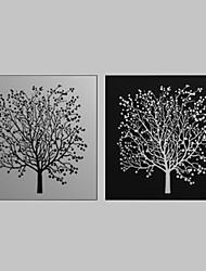 abordables -Toiles Tendues Art Floral Noir Blanc Tree Set de 2