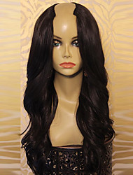 Unprocessed 8A 100% Virgin Human Hair Brazilian Long Natural Black Color hair U Part Wigs wavy wig For Women
