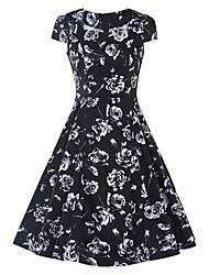 cheap -Women's Vintage Sheath Dress - Floral High Rise Square Neck