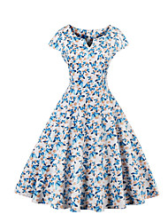 cheap -Big Yard Ladies Sheath DressFloral V Neck Knee-length Short Sleeve Blue / White / Black Cotton All Seasons Mid Rise