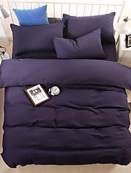bedtoppings consolatore copripiumino trapunta 4pcs set matrimoniale lamiera piana federa di colore solido tessuto in microfibra reversibili