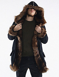 Men's Patchwork Plus Size CoatFaux Fur Long Sleeve-Black