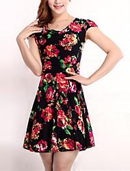 Dámské Vintage Šik ven Dovolená Velké velikosti Pouzdro Šaty Květinový,Krátký rukáv Kulatý Nad kolena Bavlna Polyester Jaro Mid RiseLehce