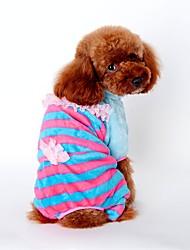 baratos -Cachorro Macacão Pijamas Roupas para Cães Riscas Amarelo Azul Rosa claro Veludo Cotelê Ocasiões Especiais Para animais de estimação