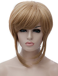 cheap -Synthetic Wig / Cosplay & Costume Wigs Straight / kinky Straight Golden Asymmetrical Haircut Synthetic Hair Natural Hairline Golden Wig Women's Short Capless