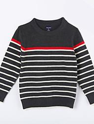 preiswerte -Pullover & Cardigan Alltag Gestreift Baumwolle Herbst Dark Gray
