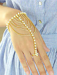 Pearl Rhinestone Chain Link Bracelets with Rings