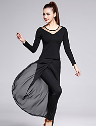 cheap -Latin Dance Outfits Women's Training Chiffon / Cotton / Tulle / Milk Fiber 2 Pieces Black Long Sleeve Top / Pant