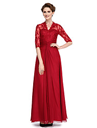 cheap -A-Line V Neck Ankle Length Chiffon / Lace Mother of the Bride Dress with Lace / Criss Cross by LAN TING BRIDE® / Illusion Sleeve / See Through