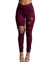 economico -Da donna A vita medio-alta Vintage Moda città Media elasticità Jeans Chino Pantaloni,Tinta unita Poliestere Primavera Autunno
