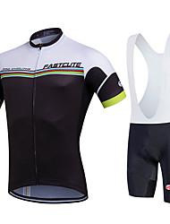Fastcute Cycling Jersey with Bib Shorts Men's Women's Unisex Short Sleeves Bike Bib Shorts Sweatshirt Jersey Bib Tights Clothing Suits