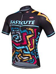 economico -Fastcute Maglia da ciclismo Per uomo Manica corta Bicicletta Maglietta/Maglia Top Asciugatura rapida Traspirante Coolmax Classico
