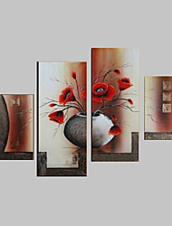 cheap -Oil Painting Hand Painted - Floral / Botanical Canvas Four Panels