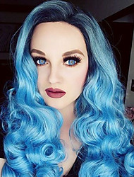 Pastel Silver Blue Ombre Wig  Long Curly Hair Side Bangs Ombre Colored Fashion Wig High Quality
