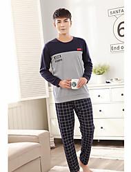 cheap -Men's Suits Nightwear - Patchwork, Plaid