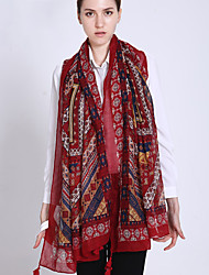 Women Autumn Winter Cotton Linen Geometric Printing Scarves National Wind Shawl Travel Tassel Scarf