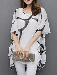 cheap -Women's Plus Size Batwing Sleeve Loose Blouse Pleated Print Black & White