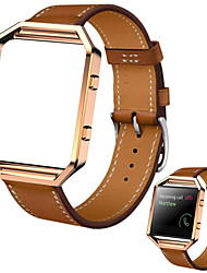 cheap -Luxury Genuine Leather Watch band Wrist strap  Metal Frame for Fitbit Blaze