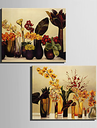 cheap -E-HOME® Stretched Canvas Art Flowers In A Vase Decoration Painting  Set of 2