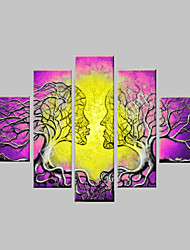 cheap -Hand-painted Wall Art Home Decorn Tree Of Life Pictures Modern Abstract 5 Piece Oil Painting On Canvas  Without Frame