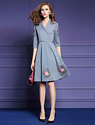 Women's Embroidery Going out Street chic A Line Dress,Print V Neck Above Knee ½ Length Sleeve Gray Cotton / Polyester Fall