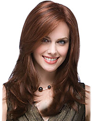 Long Body Wave Synthetic Hair Wig Side Bang Honey Brown Heat Resistant