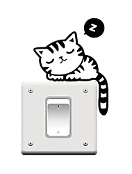 "cheap -""fashion vinyl wall sticker switch humorous cute black cat """