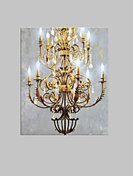 cheap -E-HOME® Stretched LED Canvas Print Art European Style Chandelier LED Flashing Optical Fiber Print One Pcs