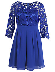 cheap -Women's Going out Cute Street chic Puff Sleeve Sheath Dress - Jacquard Lace Ruched High Rise